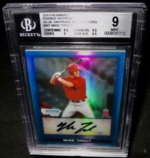 BGS 9 2013 Bowman Rookie Reprint MIKE TROUT Baseball Card Blue Sapph Refractors
