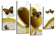 Le Reve Butterfly Canvas Mustard Yellow Love Heart Abstract Wall Art Split Panel