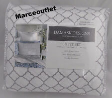 Charter Club Damask Designs 500 Thread Count QUEEN Sheet Set Geo Dove