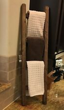 Rustic Reclaimed Weathered Hand Made Wood Blanket Quilt Towel Ladder Shabby Chic