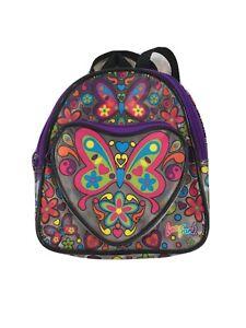 Vintage Lisa Frank Butterflies Flowers Yin & Yang Mini Small Plastic Backpack