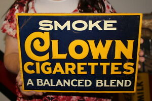 """Vintage 1940s Smoke Clown Cigarettes Tobacco Gas Station 14"""" Embossed Metal Sign"""