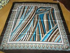 'TieRack' used brown, beige & turquoise square polyester headscarf, size 66 cm