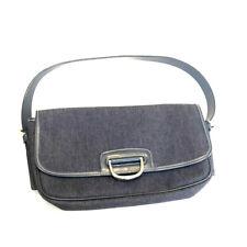 Dooney & Bourke Saddle Bag Purse Rare Vintage Silver Hardware Denim Blue 90s