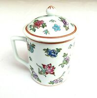 Vintage Chinese Tea Cup with Lid Hand Painted Floral Mug