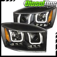 Anzo USA Projector Headlights Black w/ U-Bar for Dodge Ram 1500/2500/3500 06-09