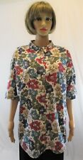 Cherokee button down blouse top women's 3X short sleeve colorful