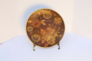 """Oriental Accent Brown, Gold, and Burgundy Flower Pattern with Gold Rim 10"""""""