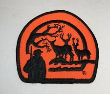 Buck Deer Hunting Embroidered Patch Iron On Hunting Hunter Blaze Orange