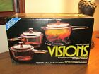 Vintage Corning Visions 6 pc. Stove Top Set V-300-N Sealed Box Damaged Box