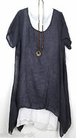 Plus Size Ladies Italian Lagenlook Boho Side Split Linen Long Cotton Tunic Dress