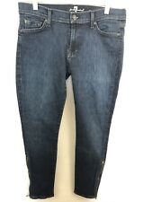 SEVEN 7 FOR ALL MANKIND GWENEVERE Womens Dark Denim Skinny Jeans Ankle Zip 32