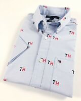 TOMMY HILFIGER Shirt Men's Short Sleeve Light Blue Oxford TH Print Slim Fit