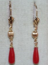 VINTAGE 14K UNDYED 40MM OX RED ITALIAN CORAL BALL TEAR DROP LEVER BACK EARRINGS