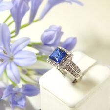 2.20 Ct Princess Diamond Engagement Blue Sapphire Ring 14K Real White Gold O P