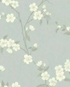 3 Rolls John Lewis Cherry Blossom Wallpaper, Eau De Nil Batch T
