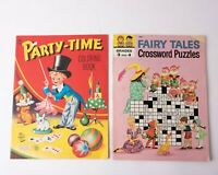 Vintage Artcraft Party-Time Magician Coloring book  Fairy Tales Crossword Puzzle