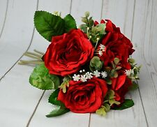 Red Rose and Foliage Flower Artificial Bouquet wedding home floral