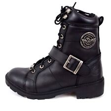 Milwaukee Leather Motorcycle Boots Buckle Lace to Toe Side Zip Size 7 Waterproof