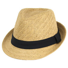Mens 59cm Caramel Straw Fedora w Black Band Summer Sun Hat GR8 4 Races