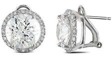 Sterling Silver 3.60 carat TW Bezel Set Stud CZ Earrings posts & omega backs