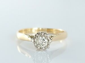 Beautiful Antique Art Deco 18ct Gold & Platinum 0.20ct Diamond Ring UK Size K