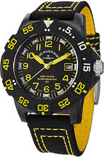 Zeno Men's 6709-515Q-A19 Divers Black Dial Black/Yellow Fabric Strap Watch