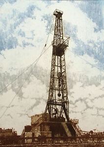 """Jeb Breithaupt """"Rigging Up"""" Hand Signed Numbered Etching oil drilling 1981 OBO"""