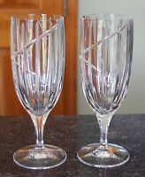 """2 Mikasa Uptown Crystal Iced Tea or Water Glasses Stems Goblets - 8.5"""" tall - EC"""