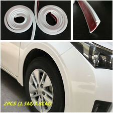 White 2pcs Car Fender Flare Arch Wheel Eyebrow Trim Protector Strip 3.8cm/1.5M