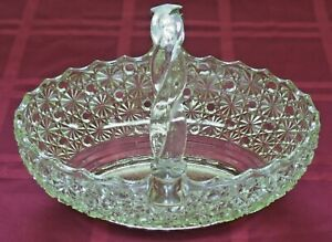 Vintage Imperial Glass Yellow Green Glass Basket w/ Braided Handle Daisy Button