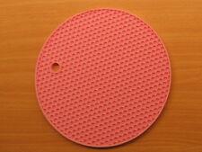 2x Pink Silicone Honeycomb Round Trivet  Heat Resistant Potholder Mat Flexible