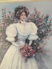 Homco Home Interior Victorian lady and roses Painting By Julia CrainerVtg