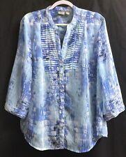 Chico's Sz 3/XL Blue Geometric Print Semi-Sheer Button Front Blouse w/Pintucks