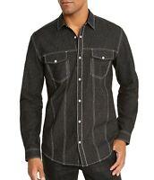 INC Mens Shirt Black Size XL Lambert Button Snap Stitch Trim Shimmer $65 #336