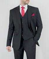 Mens 3 Piece Suit Cavani Blazer Waistcoat Trousers SLIM FIT Black Stretch MARCO