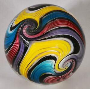 "Wald glass hand made marble aventurine Lutz & uranium contemporary Sphere 3.32"""