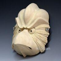 Karasu Tengu Shinto god Yokai Wooden Mask Omen Noh Kabuki Samurai Japan Kusunoki