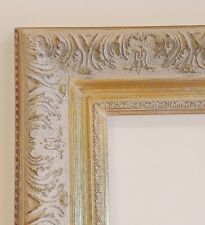 """Picture Frame- 8x10"""" Ornate Gold & Light Gray Color- Wood/Gesso- GLASS #1360AW"""