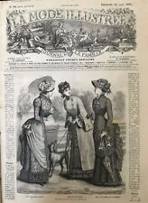 French MODE ILLUSTREE SEWING PATTERN Aug 20,1882  Mourning dress & other dresses