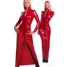 Red Latex Dress Rubber Evening Dresses Sexy Party Long Sleeve Gown Gummi 0.4mm