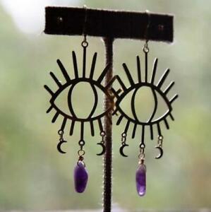 Handmade Crystal Eyes Earrings Amethyst Quartz Unique Statement Earrings Moon