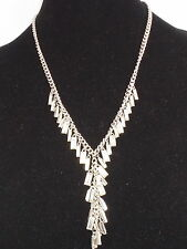 Kenneth Cole New York Silvertone SPARKLED BAGUETTE Shaky Crystal Y Necklace $68