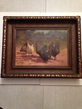 PAUL E. HARNEY - OIL PAINTING - 1914 - ROOSTERS AND HENS