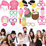 22PCS Summer Party Photo Booth Props Kit Flamingo Pineapple for Luau Tiki Party