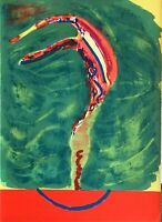 Mino Trafeli litografia paesaggio sul Muro 1968 65x46 firmata numerata 8/50