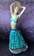 Rare Original Art Deco Leonardi Plaster Statuette - Gypsy Dancer With Tambourine