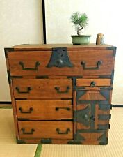 Antique Japanese Furniture raw wood metal cabinet clothes chest Isho tansu