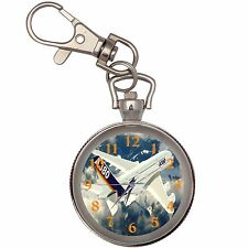 Airbus A380 Silver Key Ring Chain Pocket Watch