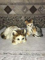 Vtg porcelain Tabby Cat & Kitten figurines- kitten Andrea by Sadek- Cat - JAPAN